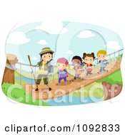 Clipart Summer Camp Group Crossing A Foot Bridge Over A River Royalty Free Vector Illustration