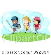 Clipart Summer Camp Kids Hiking Royalty Free Vector Illustration