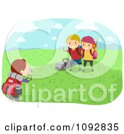 Clipart Summer Camp Kids Posing For Outdoor Photos Royalty Free Vector Illustration