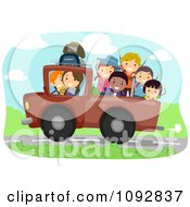 Clipart Summer Camp Kids Riding In The Back Of A Truck Royalty Free Vector Illustration