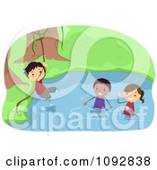 Summer Camp Kids Swinging On A Vine Over A River