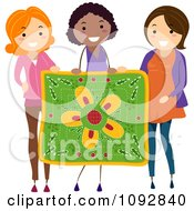 Clipart Three Women Holding Up A Floral Quilt Royalty Free Vector Illustration