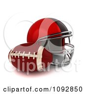 3d Football And Red Helmet