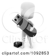 Clipart 3d Ivory Person Holding A Flash Drive Royalty Free CGI Illustration