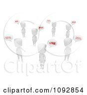Clipart 3d Ivory People Chatting About Sales Royalty Free CGI Illustration