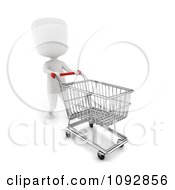 Clipart 3d Ivory Person Pussing An Empty Shopping Cart Royalty Free CGI Illustration