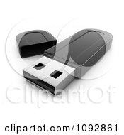 Clipart 3d Black Flash Drive Royalty Free CGI Illustration