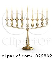 Clipart 3d Gold Hannukah Candelabrum Royalty Free CGI Illustration