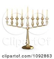 3d Gold Chanukkah Candelabrum