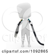 Clipart 3d Ivory Person Holding A Broken Ethernet Cable Royalty Free CGI Illustration