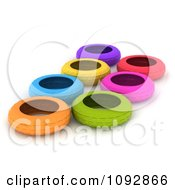 3d Colorful Tires In An Obstacle Course