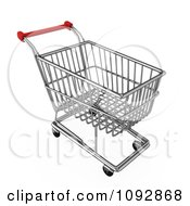 Clipart 3d Silver Store Shopping Cart Royalty Free CGI Illustration