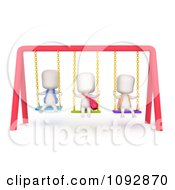 Clipart 3d Ivory Kids Playing On Swings Royalty Free CGI Illustration
