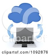 Clipart 3d Data Cloud Over A Laptop Computer With Arrows Royalty Free CGI Illustration