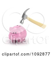 Clipart 3d Hammer Hovered Above A Piggy Bank Royalty Free CGI Illustration