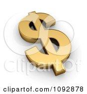 3d Golden Dollar Symbol USD