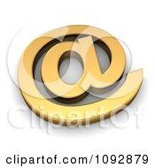 3d Golden Arobase Email At Symbol