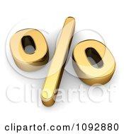 3d Golden Percent Symbol