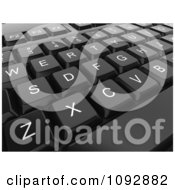 Clipart 3d Black Computer Keyboard Closeup Royalty Free CGI Illustration