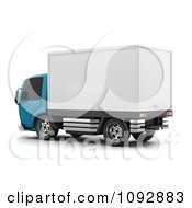 Clipart 3d Blue And White Delivery Truck 1 Royalty Free CGI Illustration