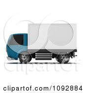 Clipart 3d Blue And White Delivery Truck 2 Royalty Free CGI Illustration