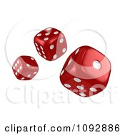 Clipart 3d Red Tumbling Dice Royalty Free CGI Illustration