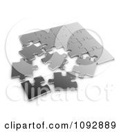 Clipart 3d Silver Jigsaw Puzzle Royalty Free CGI Illustration