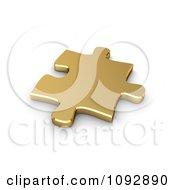3d Golden Jigsaw Puzzle Piece