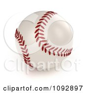 3d Baseball With Red Stitching