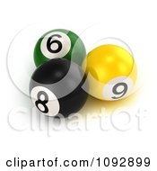 Clipart 3d Billiards Pool Balls Royalty Free CGI Illustration