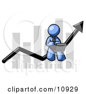 Blue Man Using A Laptop Computer Riding The Increasing Arrow Line On A Business Chart Graph Clipart Illustration