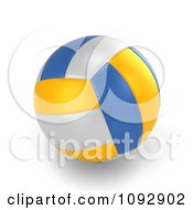 Clipart 3d White Blue And Yellow Volleyball Royalty Free CGI Illustration