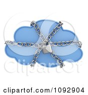 Clipart 3d Secure Data Cloud With Chains Royalty Free CGI Illustration