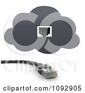 Clipart 3d Ethernet Cable And Online Storage Cloud Plug In Royalty Free CGI Illustration