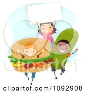 Clipart Children In Hamburger And Pickle Costumes With A Sign Royalty Free Vector Illustration