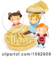 Clipart Happy Kids With A Pi Pie Royalty Free Vector Illustration