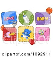 Clipart Baby Patch Icons Royalty Free Vector Illustration