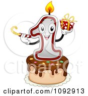 Clipart Happy One First Birthday Candle Holding A Noise Maker And Present On A Cake Royalty Free Vector Illustration by BNP Design Studio