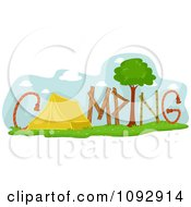 Clipart Tent And Nature Items Spelling CAMPING Royalty Free Vector Illustration