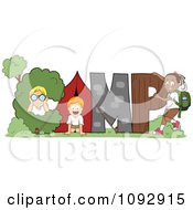 Clipart Happy Children On Nature Items Spelling CAMP Royalty Free Vector Illustration by BNP Design Studio