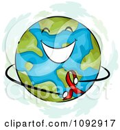 Clipart Happy Earth Holding A Red Aids Awareness Ribbon Royalty Free Vector Illustration