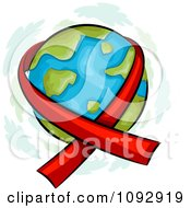 Clipart Red Aids Awareness Ribbon Around Earth Royalty Free Vector Illustration