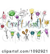 Clipart Craft Items Around Craft Month Text Royalty Free Vector Illustration