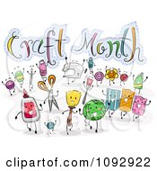 Clipart Crafting Items Around Craft Month Text Royalty Free Vector Illustration