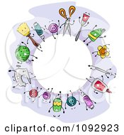 Clipart Round Fame Of Crafting Items Royalty Free Vector Illustration