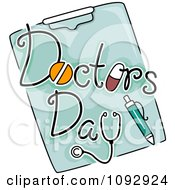 Clipart Doctors Day Text And A Pen On A Clipboard Royalty Free Vector Illustration