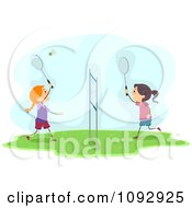 Clipart Happy Girls Playing Badminton Royalty Free Vector Illustration by BNP Design Studio