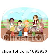 Clipart Summer Camp Guide Feeding Hungry Kids Royalty Free Vector Illustration