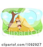 Summer Camp Kids Peeking Out Of A Tent