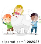 Happy Kids Brushing A Big Tooth